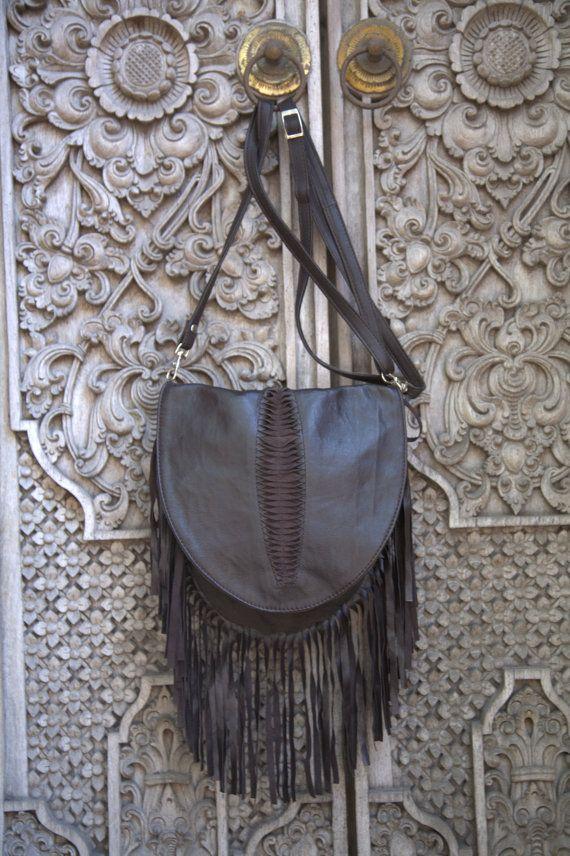 leather bag, handmade, boho bag bohemian, gypsie festival bag, brown leather bag  bag by etnikabali on Etsy