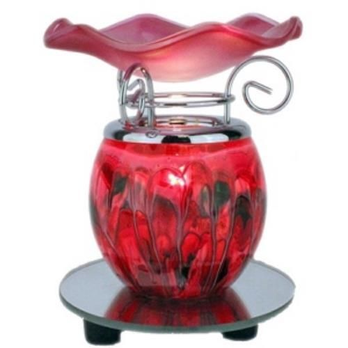Red Marbled Glass Electric Oil Warmer Burner Mirrored base Dimmer Switch  #Unbranded