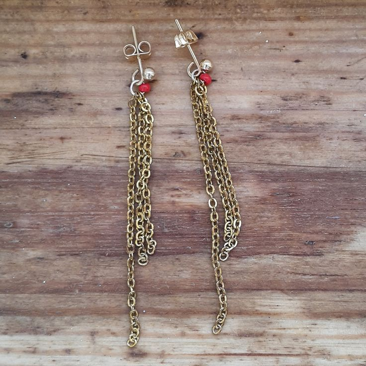 Gold plated chain dangly earrings by JdwCrafts on Etsy