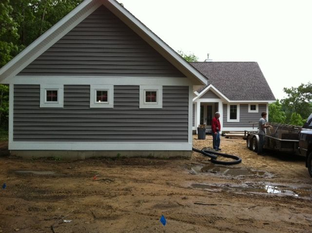 Dark Gray And White Vinyl Siding And Stone Pinterest