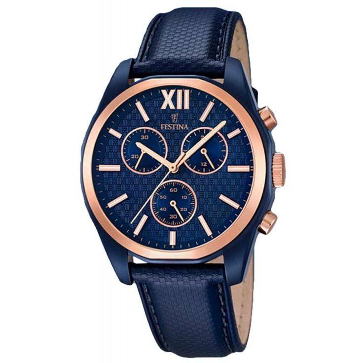 Reloj Festina hombre F16862/1. Reloj cronógrafo realizado en acero hipoalergénico. La caja mide 43 mm y la esfera es de color azul. Es sumergible a 10 ATM
