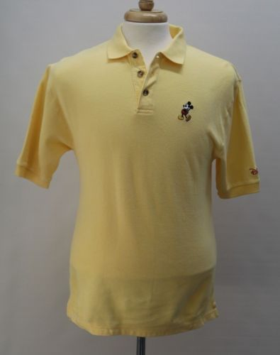 Disney-Disneyland-Resort-Short-Sleeve-Cotton-Yellow-Polo-Shirt-Small-Men-NWT