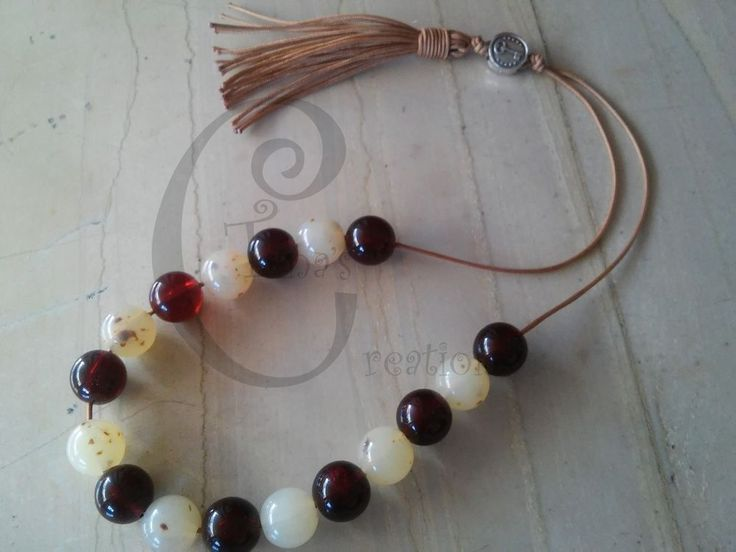 Greek Worry beads Komboloi acrylic white cherry red 13mm bead tinas creations