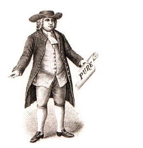 """1877: Quaker Oats registered as the first trademark for a breakfast cereal. The trademark was registered with the U.S. Patent Office as """"a figure of a man in 'Quaker garb.'"""" Both former owners, Henry Seymour and William Heston, claimed to have selected the Quaker name as a symbol of good quality and honest value."""
