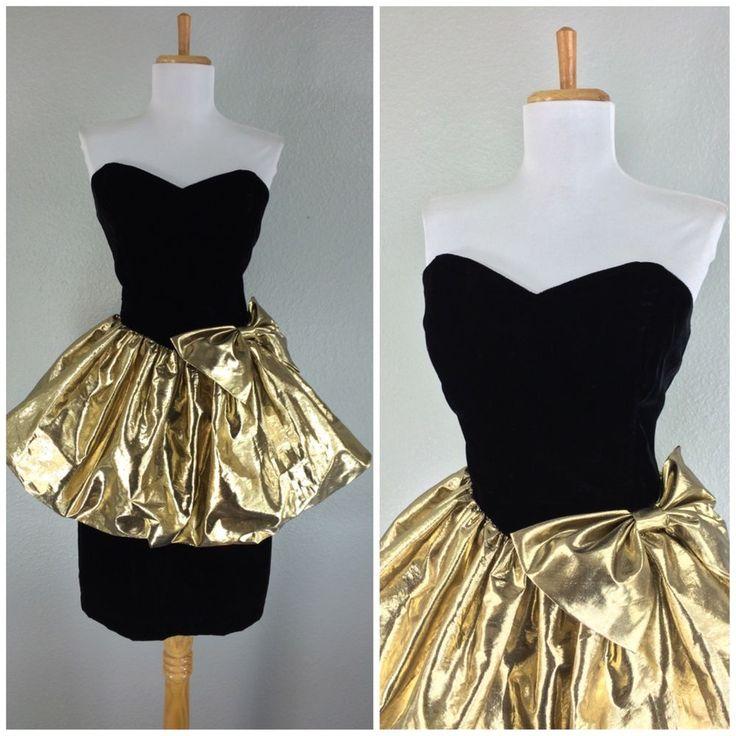 Vintage 1980s Black Velvet Gold Bow Prom Party Dance Dress M | eBay