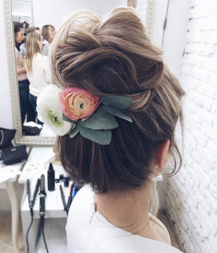 long hair hairstyles | bun | high | messy | top