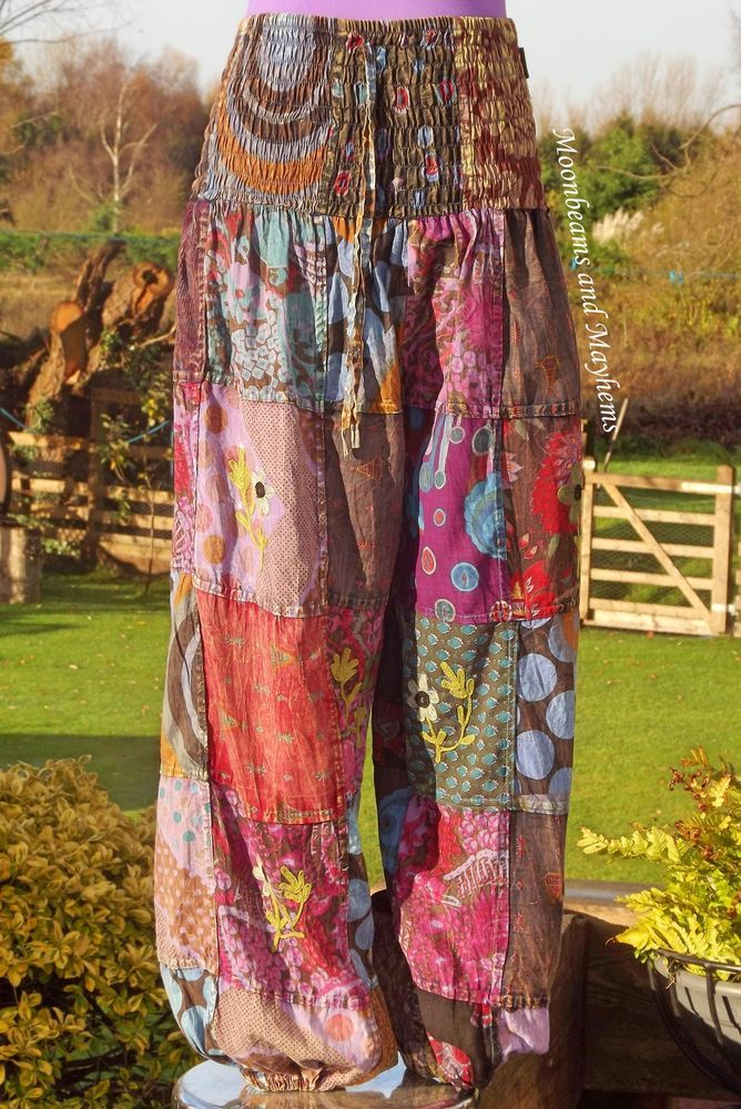 ♥ ~ STRIKING NEW PATCHWORK HAREM PANTS HIPPIE TIE DYE UK SIZE 8 10 12 14 16 BOHO