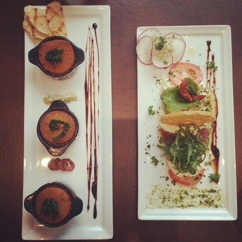 Garlic-herbed escargots and Heirloom Tomato Salad at Auroz Restaurant, Jakarta