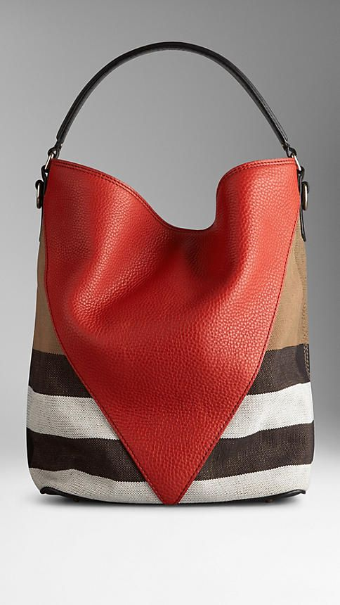 Medium Canvas Check Leather Chevron Hobo Bag | Burberry