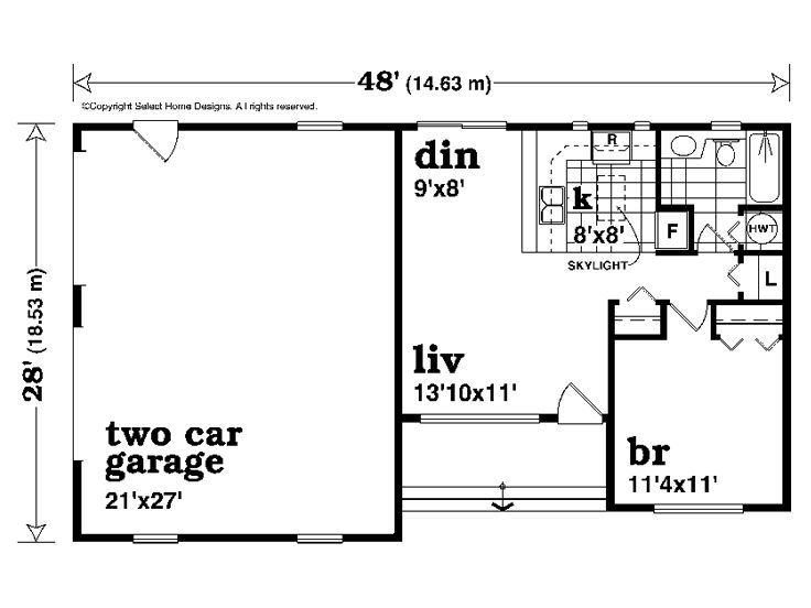 2 car garage with apartment plan 604 sq ft 032g 0008 for Single story garage apartment