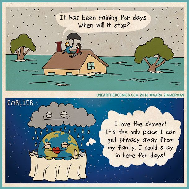 parenting comics and astronomy humor about parents finding an escape in the shower