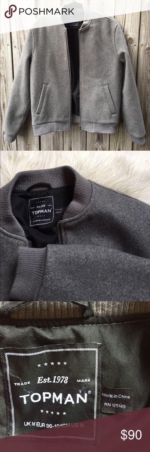 Topman Varsity Jacket Topman grey wool varsity men's jacket. Brand new perfect condition. Men's size medium. Two pockets and black lined. Topman Jackets & Coats Bomber & Varsity