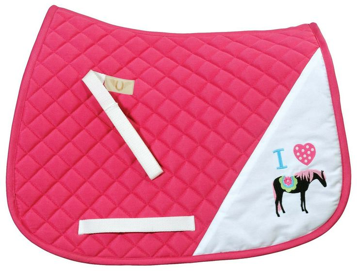 I Heart Pony Saddle Pad for the horse-crazy young rider, $29.95 (http://www.lexingtonhorse.com/tuffrider-i-heart-pony-girl-saddle-pad/)
