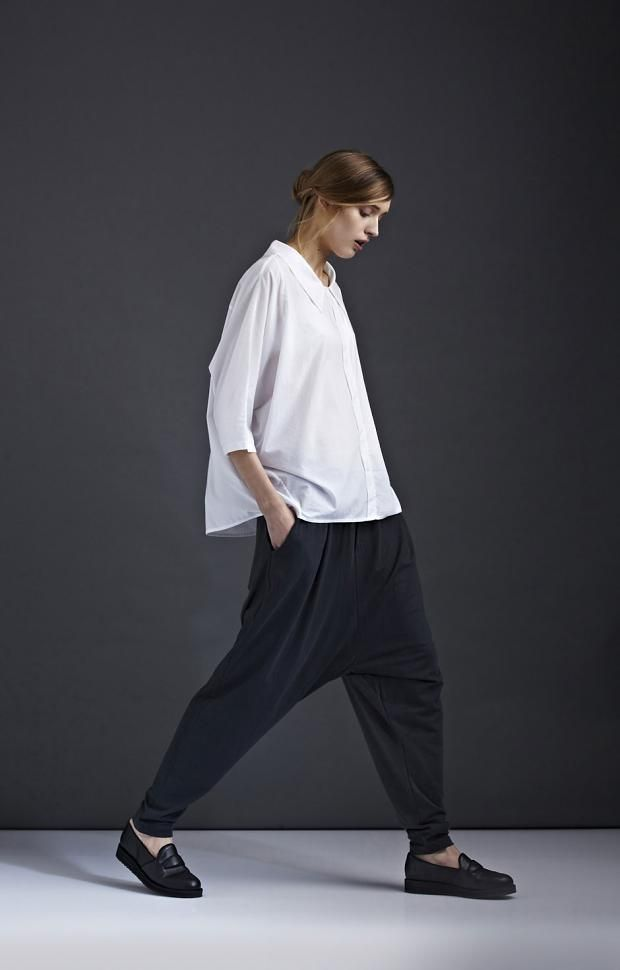 kowtow A/W '14 look book / black trousers and white blouse