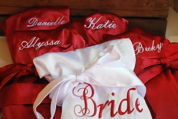 SATIN Bridal Robes Silk Bridesmaid Robe Gift by HeritageWedding