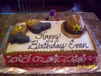 Thinking about making this...    I made this cake for my son's 2nd birthday.  He had a western theme.  I got the idea from several websites.  I was really easy to do.  The only hard part