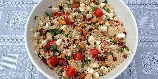Quinoa salade met granaatappel en feta