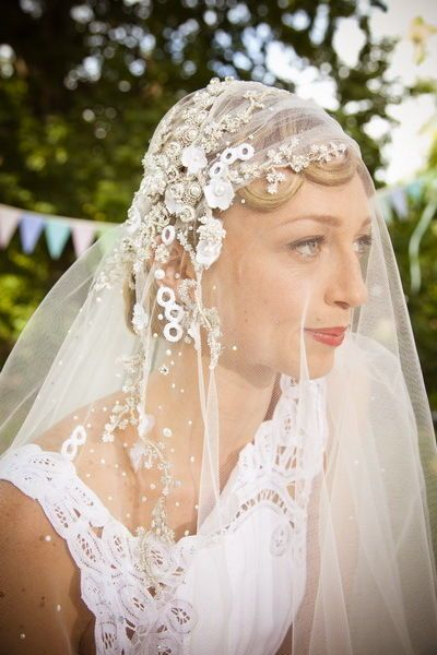 "Beautifully embroided wedding veil by J'Aton worn by ""Bec"" in Winners and Losers"