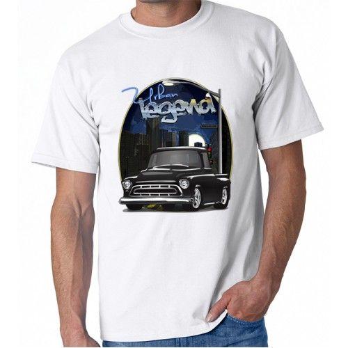 Black 1957 Chevy Pickup Truck Urban Legend Printed Cotton T-shirt