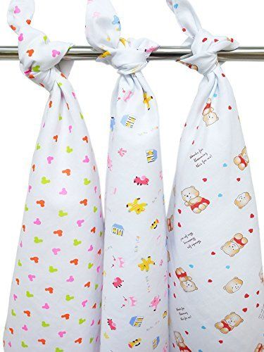 """Sister Selected - (Set of 3) Baby Swaddle, Blanket, Cloth Diaper, Burp Cloth, Towel, Napkin, Nappy, Stroller Cover, Nursing Cover, Car Seat Cover, Changing Pad Cover, Feeding Blanket. (Size 26"""" X 26"""")"""