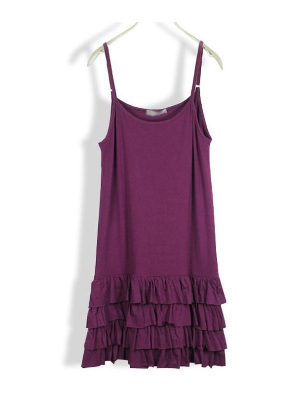 purple sleeveless collarless modal sling dress -