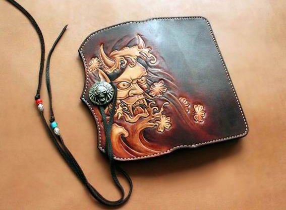 Leather wallet carving custom handmade