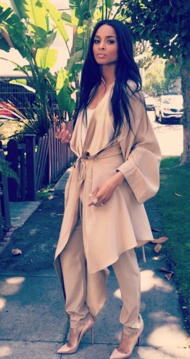 #Ciara cream asymmetrical long cardigan, trousers and heels