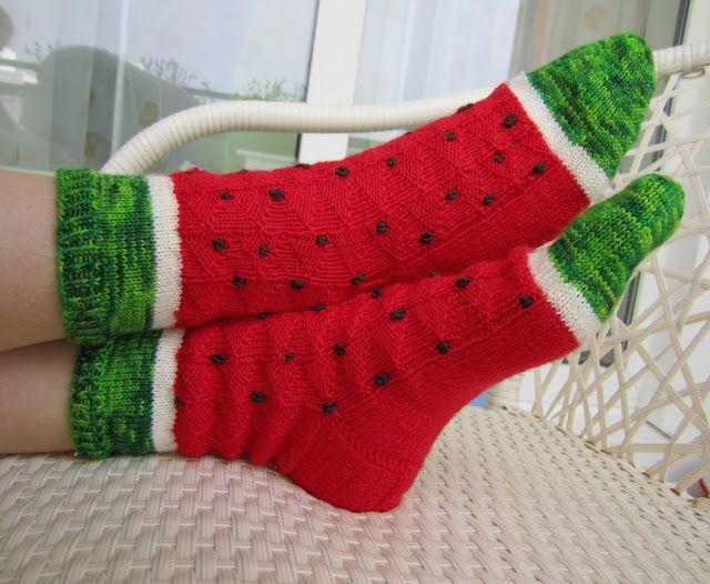 Wassermelonen Socken stricken
