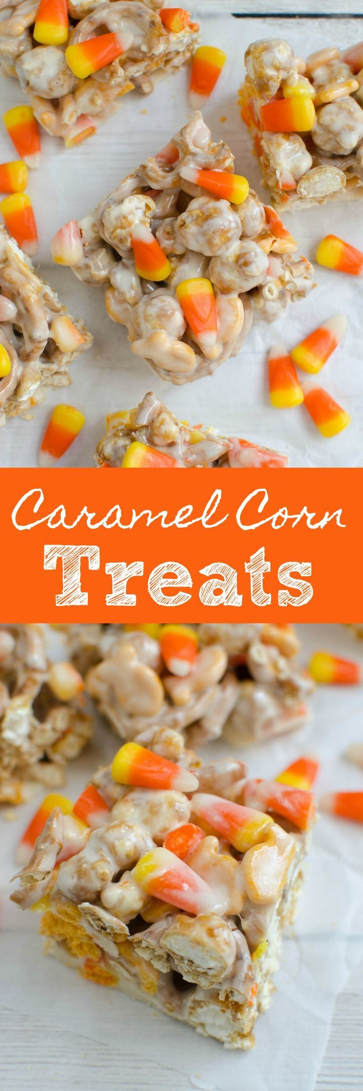 Caramel Corn Treats are the perfect sweet and salty fall snack! Caramel corn, pretzels, cheddar Goldfish, and candy corn all coated in melted marshmallow!