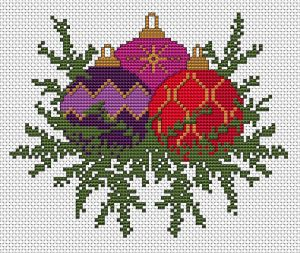 Christmas decorations free cross stitch pattern