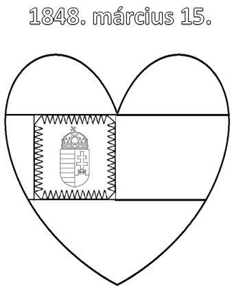 Március 15. színező címeres