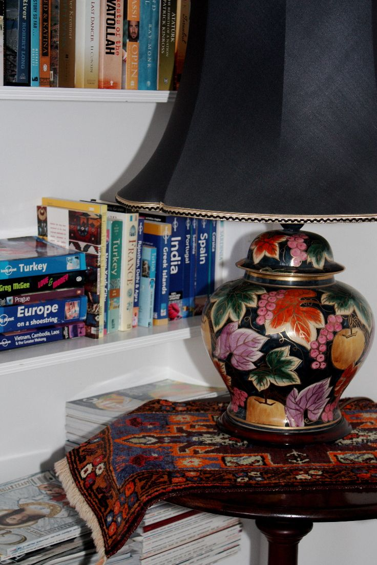 The old Persian saddlebag and the beautiful lamp-shade; a perfect combo.