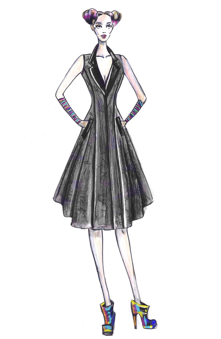 Josh and nicol. Wool long sleeveless jacket illustration for aw2013.