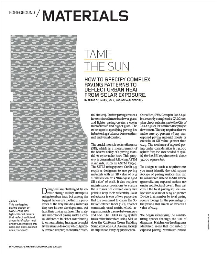 TAME THE SUN | Landscape Architecture Magazine. How to specify complex paving patterns to deflect urban heat from solar exposure.