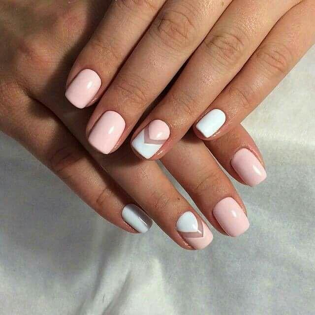 Unhas decoradas branco e rosa - nailart