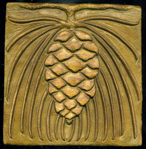 Craftsman Style Pine Cone Tile In Warm Tan