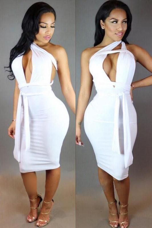 4ac657fc5eda24 Cut Out One Shoulder Pure Color Bodycon Knee-length Dress  Backless-Dresses   Bodycon-Dresses  Knee-length-Dresses