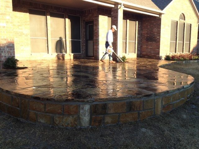 GroundScape, A Fort Worth Landscape Company, Installs A Curved Flagstone  Patio.