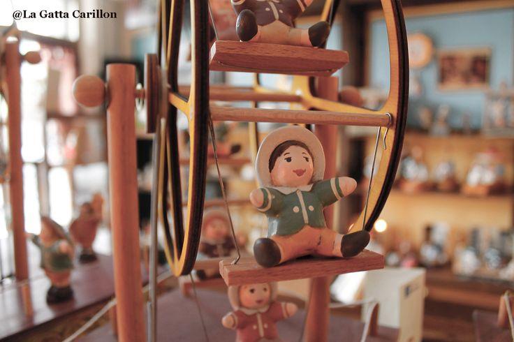 Carillon giostra ruota panoramica - Ferris wheel carousel music box (wood and ceramic handmade)