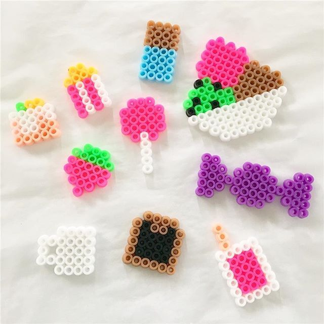 Hama bead food charms created by my eight year old