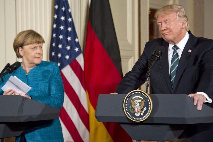 Twitter is slamming Donald Trump after awkward press conference with Angela Merkel