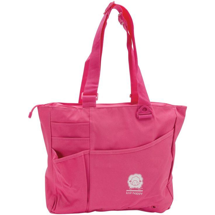 """Knit Happy Bright Bag 15""""X13""""X4""""-Pink"""
