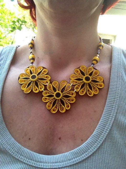 Quilling necklace, quilling paper necklace, quilling paper flower,quilling paper beads. Necklace made of paper with quilling techniques in yellow and brown, paper beads and seed beads. Varnished for moisture rezistance. Nickel free pins. Very light weight. Approximate dimensions 40 cm open. Short necklace, neckline. | Shop this product here: spreesy.com/Crochetbutique/36 | Shop all of our products at http://spreesy.com/Crochetbutique | Pinterest selling powered by Spreesy.com