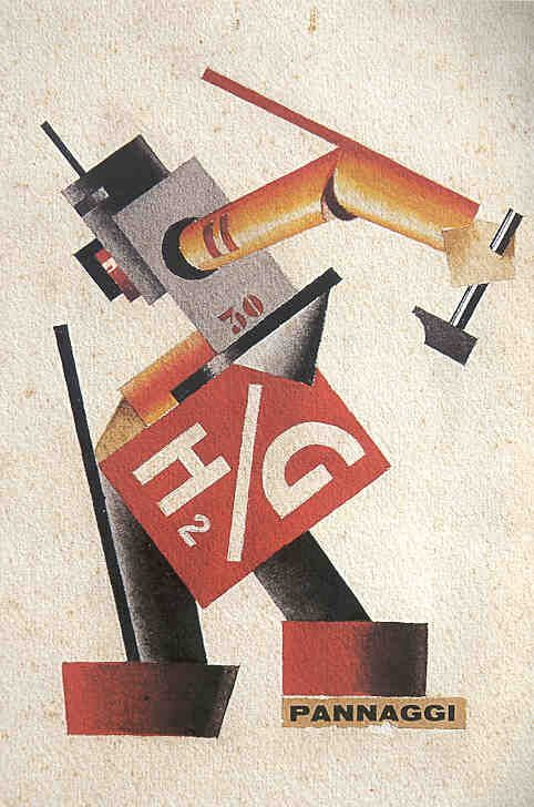 Plastic Costume for The Anguish of Machines, 1926.  Ivo Pannaggi (1901-1981) was a painter and architect, Italian, & author of works on futurism. Subsequently he broke away from the Futurists, influenced by the  communist Soviet avant-garde, such as Malevich and El Lissitzky . In the 30s he moved to Germany and attended the Bauhaus until it was closed by the Nazis.