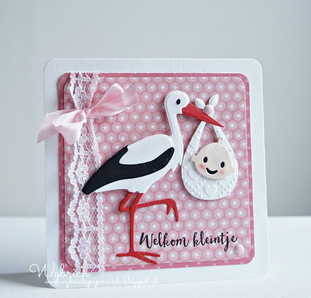 Handmade card by DT member Wybrich with Collectables Eline's Stork (COL1420), Design Folder Sweet Hearts (DF3432) from Marianne Design