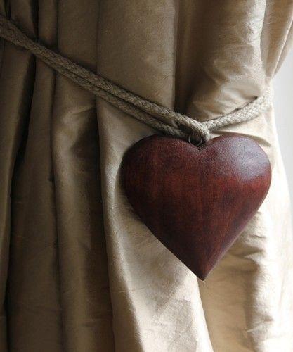 curtain tieback, wooden heart