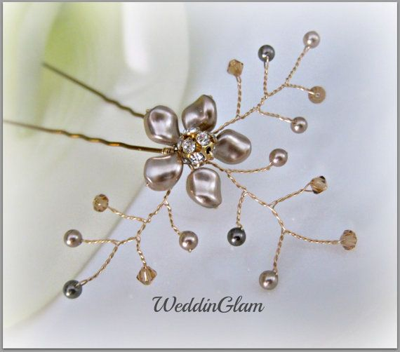Brown hair clip, Fall Wedding Hair, Bridal Hair Pin, Accessories, Swarovski Asymetrical Pearls, Bridesmaid Hair do, Gold or Silver wire