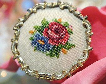 Vintage Austria Petit Point Viennes Vienna Floral Rose Hand Crafted Brooch Pin Circa 1940s Decorative Frame Work Rocco Style Victorian Flare