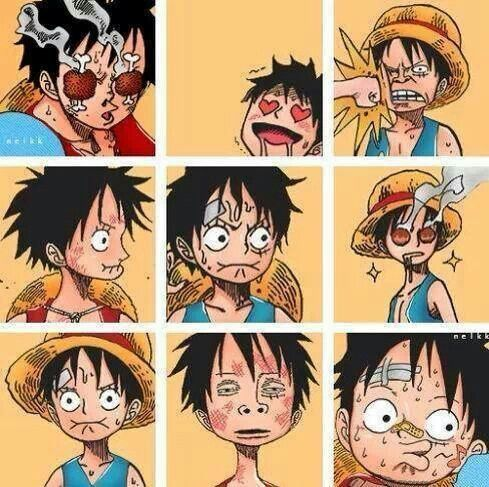 Anime/manga: One Piece Character: Luffy, the many faces of Monkey D. Luffy.