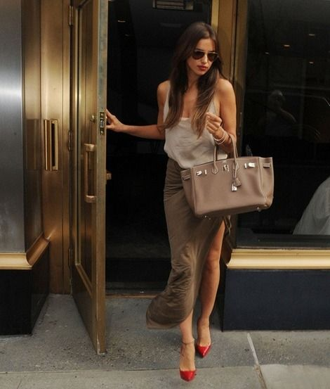Love this bevy of beige ensemble. And adore the red heels to make the outfit pop!